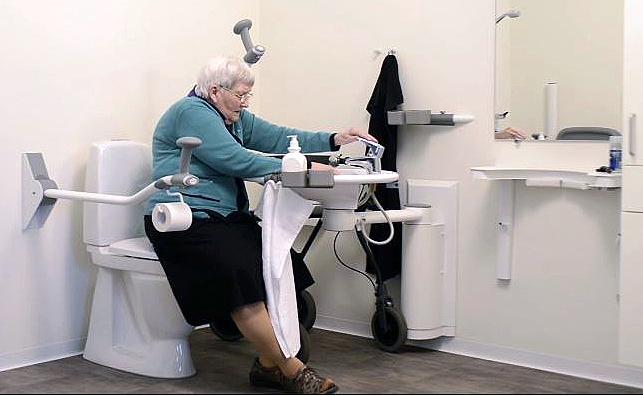 Swing washbasin with user 2